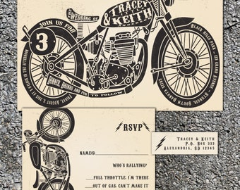 Motorcycle Wedding Invitations - Biker Bride -  Wedding Invitation Set - Chopper Invite - Sample
