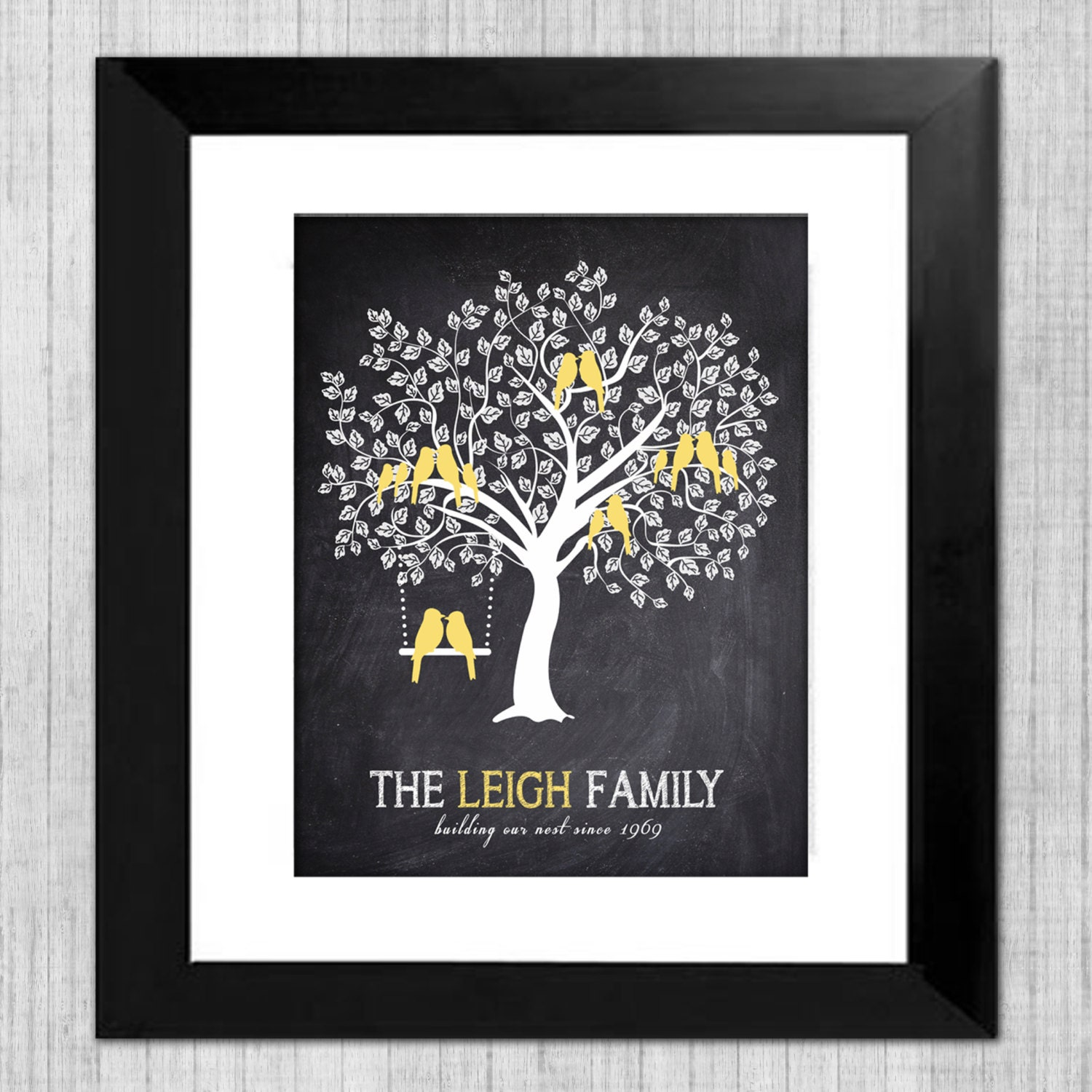chalkboard family tree wall art personalized gift for mom. Black Bedroom Furniture Sets. Home Design Ideas