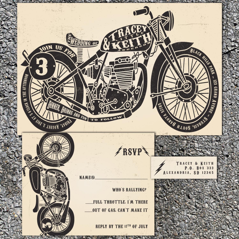 Motorcycle Wedding Invitations Biker Bride Vintage Chopper