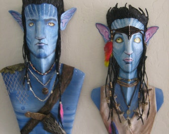 Avatar Jake and Neytiri  Queen Palm Frond Mixed Media Original Wall Art