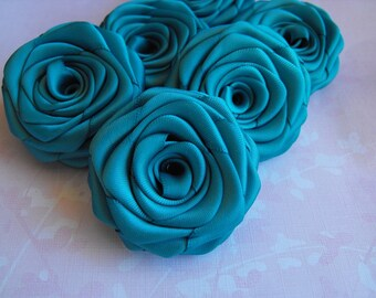 6 handmade roses satin ribbon flowers in teal