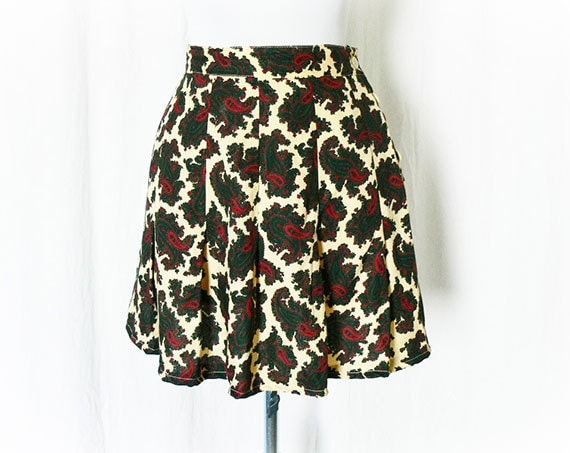 Vintage 80s Mini Skirt S Paisley Print Rayon Side Buttons Upcycled
