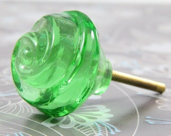 Green glass rose knob 4.5cm GRN007