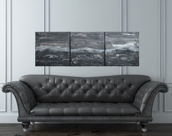 Three Panel Stormy Sea Art Black Greys Silvers by MyImaginationIsYours