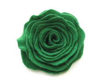 Emerald Green Cashmere Flower Pin Felted Wool Rose Brooch