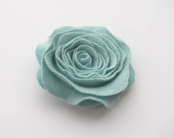 Cashmere Felted Wool Rose Brooch Mint Green Recycled Wool Flower Pin