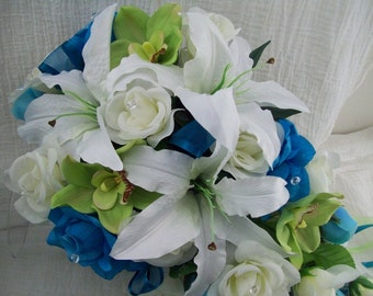 Tropical Beach Wedding Bouquets Pool, Aqua Ivory and Green Roses and Orchids Cascade Bridal Bouquets Boutonniere and Corsages 5 Pieces