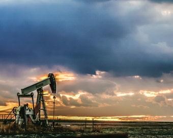 Oil Field at Sunrise Metal Gallery Print