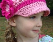 Girls Pink Flower Hat with Visor - Crochet Beanie Hat Ready to Ship