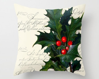Throw Pillow Cover - Christmas Holly on Vintage Ephemera - 16x16, 18x18, 20x20 - Pillow case Original Design Home Décor by Adidit