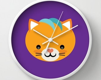Cute Cat Wall Clock - Cat Kids Wall Clock - Purple Orange Teal - Original Design - Home decor Kids Children Room by Adidit