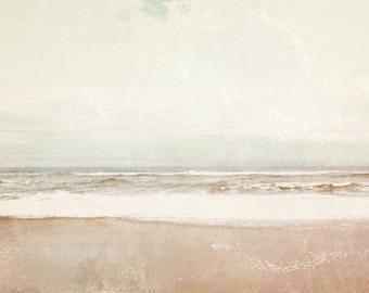 Coastal Wall Art, Ocean Photograph, Ethereal Pale Beige Peach PInk Aqua Gray Print, The Timeless Sea Photograph 8x10