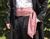 Pirate Sash- Red and White Stripes, Extra Wide and Long. Pirate Belt. Striped Belt. Stripe Sash.