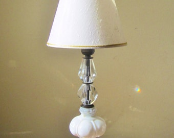 Vintage Glass Table Lamp Crystal Faceted Milk Glass