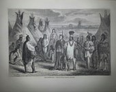 Antique French Engraving Crees Native Americans 1860