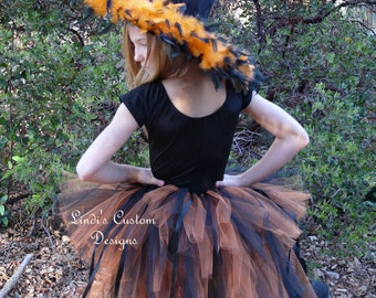 Witch Costume Children, Teens, Adults, Orange and Black Bustle Tail Tutu, Boa Over the Top Witch Hat, Halloween Costume, Pageant Costume