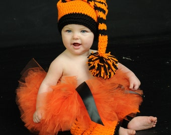 Orange and Black Halloween Tutu with Optional Hand Crochet Elf Hat and Matching Leg Warmers for Children