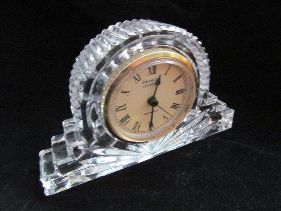 Godinger Lead Crystal Quartz Desk Clock Crystal Legends