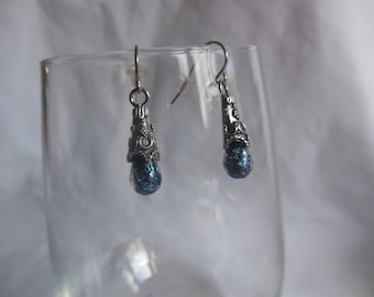 Blue/Green Dichroic Glass Moondrop Earrings, earrings, dichroic, glass, moondrop, dangle
