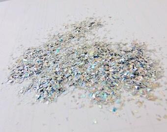 Holographic Silver Shreds glitter solvent resistant glitter 1TBsp sample