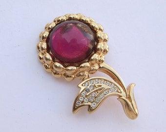 Vintage 1980's Monet fushcia pink flower brooch pin, pink and gold enamel brooch, rhinestone brooch, costume jewelry, pink wedding brooch