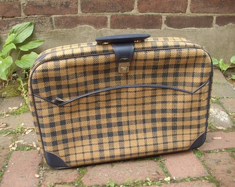 Vintage 1970's Gimbels blue and yellow plaid suitcase, carry-on bag,