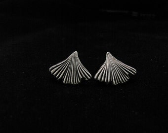Silver, ginkgo leaf post earrings with black patina