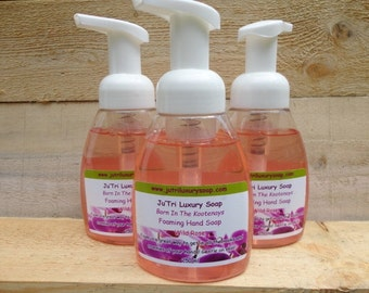 Handmade Homemade Wild Rose Scented Foaming Liquid Hand Soap Hot Process Moisturizing