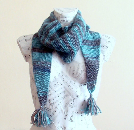 knit blue gray baktus scarf knit scarf for sale