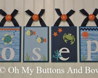 Nursery Room Decor . Wall Letters . Nursery Decor . Baby Name Blocks . Hanging Wood Name Blocks . Under the Sea . Joseph
