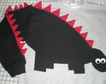 Dinosaur sweatshirt, dinosaur shirt with a spikey tail, CUSTOM to your COLORS and size, adult sizes