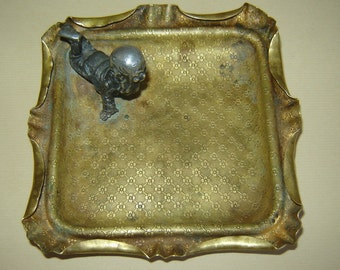 ANTIQUE Early 19c Old Vintage Ashtray Coin tray Dwarf Gnome Elf metal figurine
