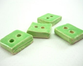 bright set of 4 kiwi green decorative ceramic buttons, embellish your sweater, .75 inch, 2 cm light green ceramic buttons