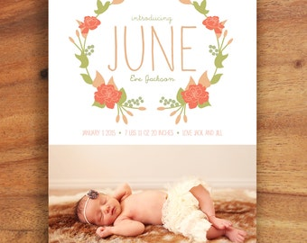 Feminine Baby Girl Birth Announcement  - Printable