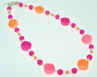 hot pink and orange colorful glass resin beaded necklace