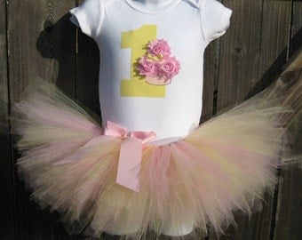 Baby's First Birthday Pink Lemonade Cupcake Tutu Set and Matching Headband | Birthday Photo Prop, Party Dress
