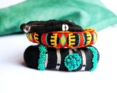 Statement tribal, mixed media, mexican, ethnic bracelets