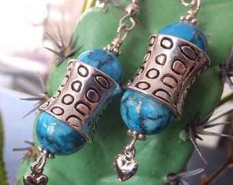Turquoise and Silver Earrings, Turquoise-dyed Jasper Beads, SIlver Metal Heart Charms Earrings, FREE SHIPPING, Southwestern