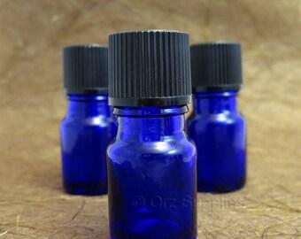 5 empty glass Blue Essential oil Euro dropper bottle 5ml / 0.17 oz