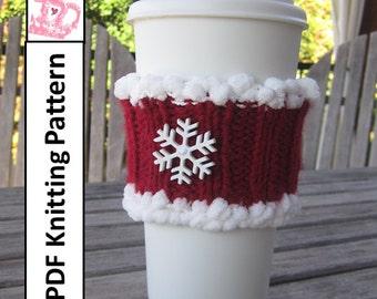 Christmas coffee cozy - PDF Knitting Pattern