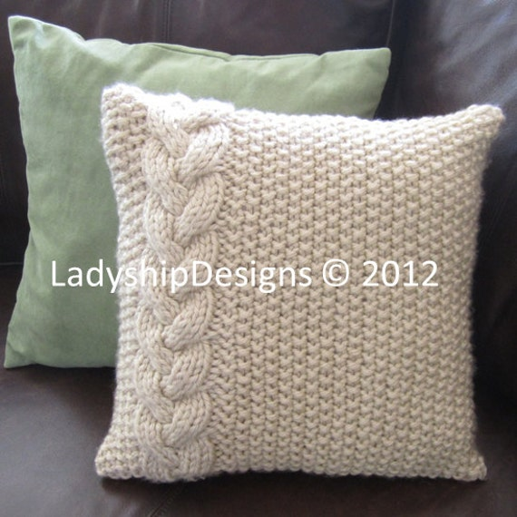 Cable Knit Pillow Pattern : Cable knit pillow cover pattern, knit pattern pdf, Braided Cable super chunky...