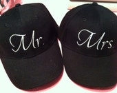 Matching Coordinating Mr. and Mrs. Hats Wedding Anniversary Bachelorette Party Engagement Gift