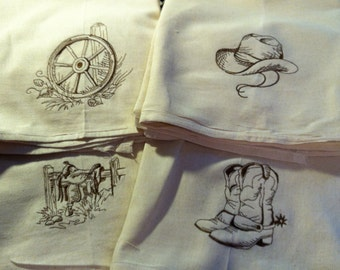 Set of 4 Western Cowboy Cowgirl Farm Tea Towels Flour Sack Towels with Vintage Embroidery