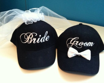 Bride and Groom Matching Veil and Tuxedo Hats