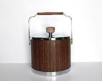 Vintage Ice Bucket - Kromex Ice Bucket - Faux Bois Ice Bucket - Mod Party - Mid Century Mod Home