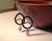 Black onyx and amethyst stone earrings handmade with copper and sterling silver