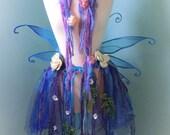 Blue Butterfly Bustle Belt Adult Size S-M// Bustle Belt, Skirt, Purple, Blue, Aqua, Yarn, Flower, Costume, Dress, Goddess, Wedding, Fairy