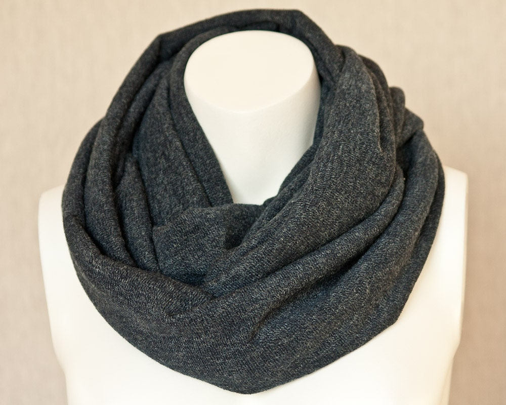 charcoal gray infinity scarf chunky scarf jersey knit scarf