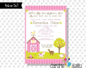 Printable Girlie Pink Neigh Moo Cock-a-doodle Doo Farm Baby Shower Invitation - Printable Digital File