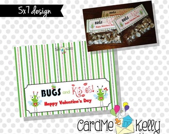 INSTANT DOWNLOAD Printable Bugs and Kisses Treat bag Toppers Labels Valentines Day Cards